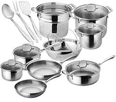 Chef's Star Premium Pots And Pans Set - <b>17 Piece</b> Stainless <b>Steel</b>