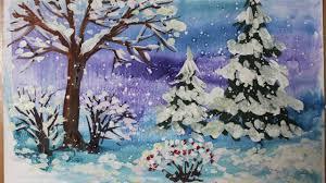 <b>Зимний</b> пейзаж поэтапно гуашью. Видео уроки рисования для ...