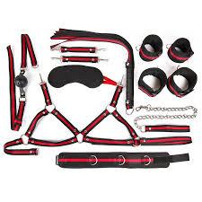 Черно-красный набор БДСМ: <b>наручники</b>, <b>оковы</b>, <b>ошейник</b> с ...