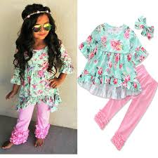 2019 <b>2017</b> Girls <b>Childrens Clothing</b> Sets Floral <b>Clothes</b> For Kids ...