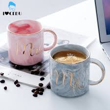 <b>Marble</b> Ceramic Mugs Gold Plating Couple Lover's Gift Morning ...