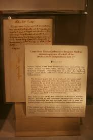 delco daily top ten 2015 the original copy of jefferson s letter to franklin is on display at the museum of the american philosophical society located at 104 5th street