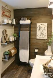 half bath decor: shelves amp accent wall idea for half bath there is just something about a farmhouse that is homey and inviting ikeas products were mainly used to