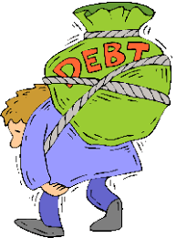 Image result for caricature of man in heavy debt
