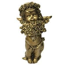 <b>Фигурка декоративная Ангел</b> с розами цвет золото L12,5W9Н22 ...