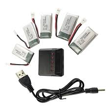 Fytoo <b>5PCS 3.7V</b> 400mAh <b>Lithium Battery</b> with 5 in 1 Charger for ...