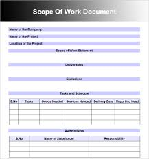 scope of work templates word pdf document scope of work templates word pdf documents