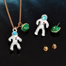 Fashion Astronaut <b>Planet</b> Pendant Necklace Stud earrings ...