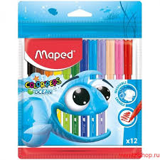 "<b>Фломастеры Maped</b>, ""<b>Color</b>'<b>Peps</b>"", Ocean, 12 цв., пласт. упаковка"