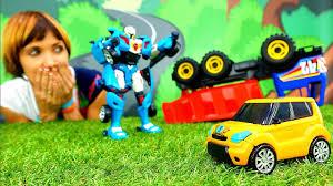 Машинки и роботы Трансформеры. ТОБОТ спасает Грузовик ...