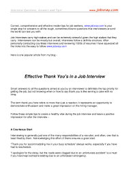 effective thank you s in a job interview from jobxray com