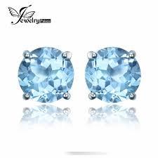2016 New <b>2ct Natural stone</b> Sky Blue Topaz Stud Earrings For ...