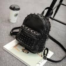 Women <b>Small</b> Genuine Leather Backpack <b>Rivet</b> Bagpack Daily Cute ...