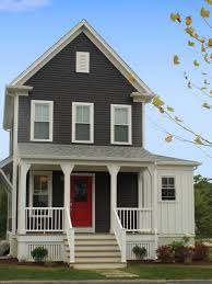 delightful gray house exterior paint idea with white window frames red door and white balustrade beautiful house exterior paint ideas brown dark gray