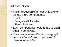 five paragraph essay writing introduction the introduction of an  introduction the introduction of an essay is broken up into three components  hook