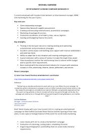 entertainment and brand manager cv