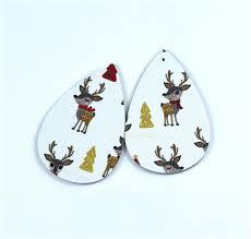 <b>10Pcs</b>/lot <b>Pu Leather</b> Earring Accessory Christmas Elk Earrings ...