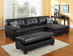 enchanting family room with black leather sofa with table also white carpet black leather sofa