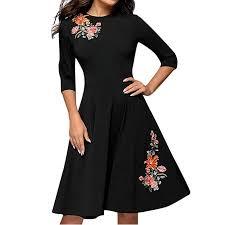 <b>Women</b> Dresses Long Sleeve, Teen Girls <b>O Neck Elegant</b> Floral ...