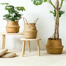 Willow <b>Foldable Seagrass Storage Basket</b> Plant Pot Laundry ...