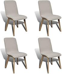 Daonanba Set of 4 Pieces Beige Wood Legs <b>Fabric Oak</b> Modern ...