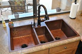 hammered copper kitchen sink:  kitchen sinks quot hammered copper kitchen triple basin sink