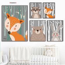 Funny Bear Fox Rabbit Posters Prints <b>Woodland</b> Forest <b>Cartoon</b> ...