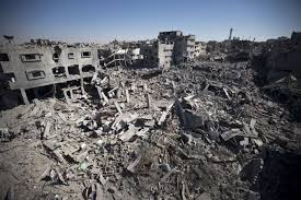 netanyahu tells is to be ready for prolonged gaza war a picture taken on 26 2014 shows the rubble of destroyed buildings and homes