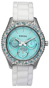 New Fossil Women's Stella Aqua Face Teal Blue White Crystal ...