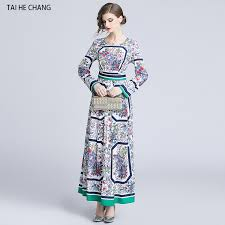 women <b>autumn</b> vintage party long sleeve <b>maxi print</b> runway <b>office</b> ...