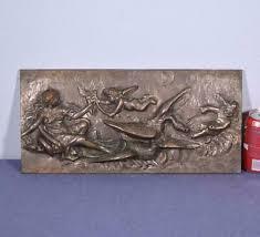 "<b>18</b>"" Antique <b>Bronze Sculpture</b>/Plaque/Wall Hanging with <b>Woman</b> ..."