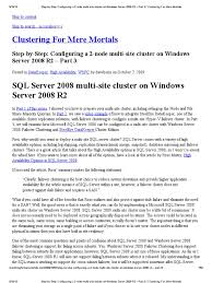 human resources management explain the emerging role of step by step configuring a 2 node multi site cluster on windows server 2008 r2 part 3 clustering for mere mortals