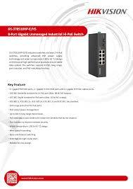 DS-3T0510HP-E/HS <b>8</b>-<b>Port Gigabit</b> Unmanaged Industrial Hi-PoE ...