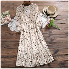 Korean Sweet Spring Autumn Women Dress Prairie Chic <b>Floral</b> Print ...