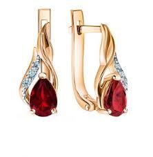 Золотые <b>серьги</b> с гранатом и бриллиантами SUNLIGHT: розовое ...
