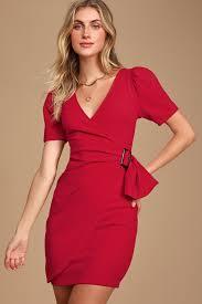 Chic <b>Red</b> Dress - Belted Bodycon Dress - <b>Puff</b> Sleeve Dress