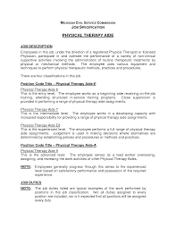 therapist job description for resume com physical therapy aide resume description physical therapist assistant