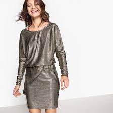 <b>Платье короткое</b> блестящее с эффектом драпировки спереди ...