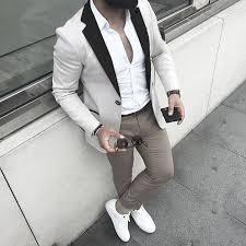<b>Fashion Stitching Men's</b> Slim Casual Suit | <b>Mens fashion</b> casual ...