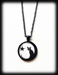<b>Black</b> Cat <b>Necklace</b> with <b>Full</b> Moon and Star Gothic Witch Glass   Etsy