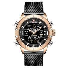 Aesthetic <b>Men's</b> Military Quartz Watch <b>Dual Display</b> Water Proof ...