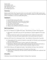 professional casino floor supervisor templates to showcase your    resume templates  casino floor supervisor