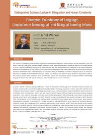 department of linguistics and modern languages the chinese perceptual foundations of language acquisition in monolingual and bilingual learning infants