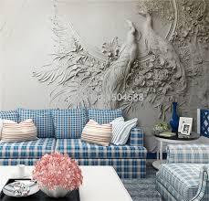 <b>Custom Mural Wallpaper 3D</b> Embossed Peacock <b>Wall Painting</b> ...
