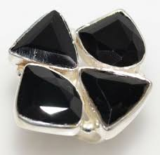 <b>925 Sterling SILVER</b> Unusual Multi Black Onyx Gemstone Ring ...