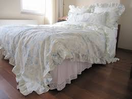 cream pastel blue floral ruffled bedding queen size duvet cover shabby chic bedding sets with 2 blue shabby chic bedding