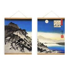 method hanging wall decor  pieces japanese full moon river landscape decoration wall art picture