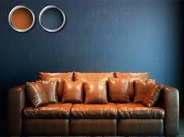 brown sofa blue wall brown dark blue color combination blue walls brown furniture