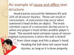 nonfiction text structures  soccer passages written with  an example of cause and effect text structure head injuries account for between  and