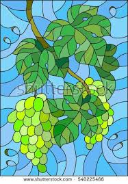 The illustration in stained <b>glass</b> style painting with a bunch of green ...